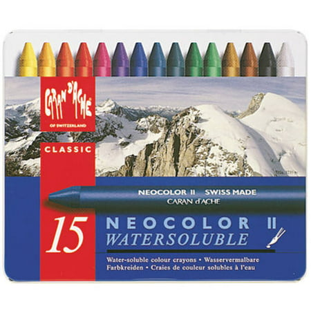 Aquarelle Water Soluble Wax Pastels - Caran D'Ache NeoColor II Water Soluble Wax Pastel Set, 15pk