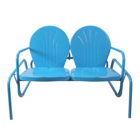 Retro Metal Double Glider - Outdoor Retro Metal Tulip Double Glider, Turquoise Blue