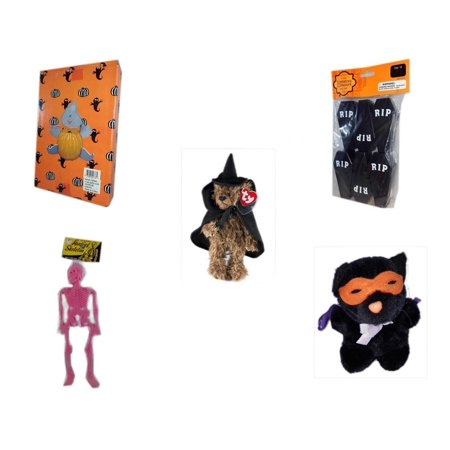 Halloween Fun Gift Bundle [5 Piece] -  Ghost Pumpkin Push In 5 Piece Head Arms Legs - Tombstone Containers Party Favors 6 Count - Ty Attic Treasures