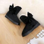 Womail Bowknot Warm Women Flats Shoes Snow Women Boots Autumn Winter Shoes Fashion BK/C