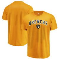 Men's Majestic Gold Milwaukee Brewers Bigger Series Sweep T-Shirt