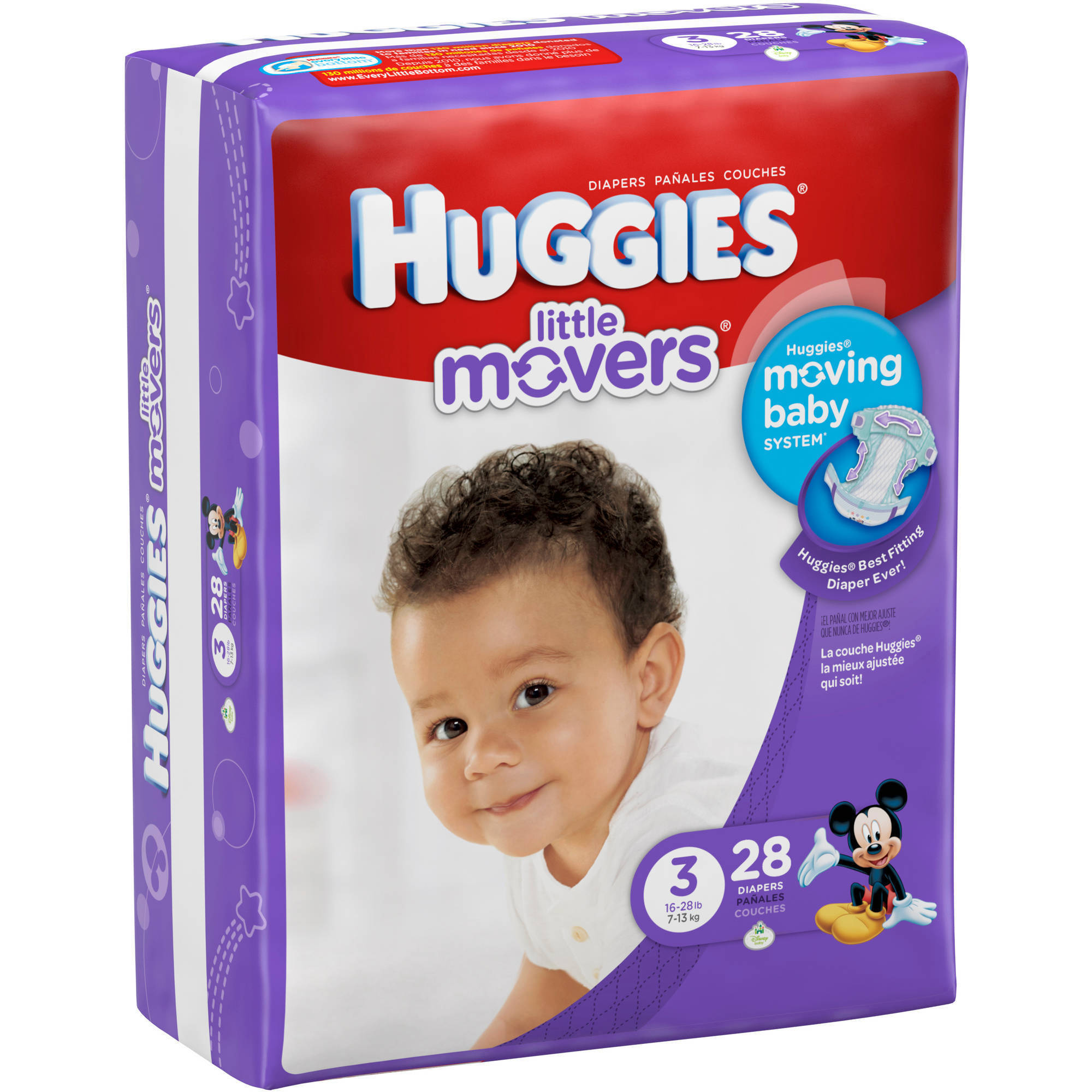 HUGGIES Little Movers Diapers, Jumbo Pack (Choose Your Size)