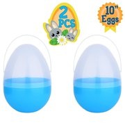 Playoly 2 Blue Jumbo 10Inch Easter Egg with Handle - The Perfect Size For Holding Toys, Candy Bars, And Stuffed Animals - Easy To Open, Tough To Break - Great As Party Favors And Easter Basket Stuffer