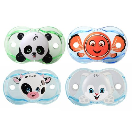 RazBaby Keep-It-Kleen Pacifiers: Panky Panda, Finley Clown Fish, Neeloo Cow, Ziggy - Binky Bunny
