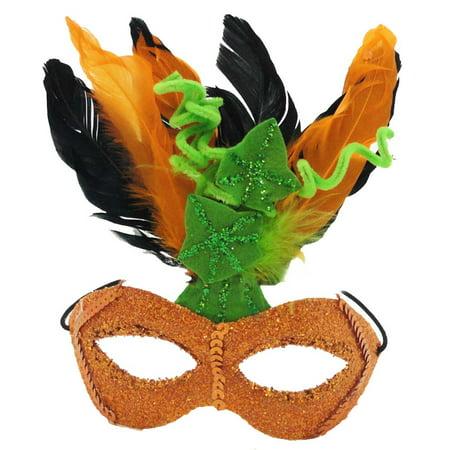 Halloween ORANGE GLITTER HALLOWEEN MASK Plastic, Felt & Feathers Feathers Sequins TC5609](Halloween Glitter Clipart)