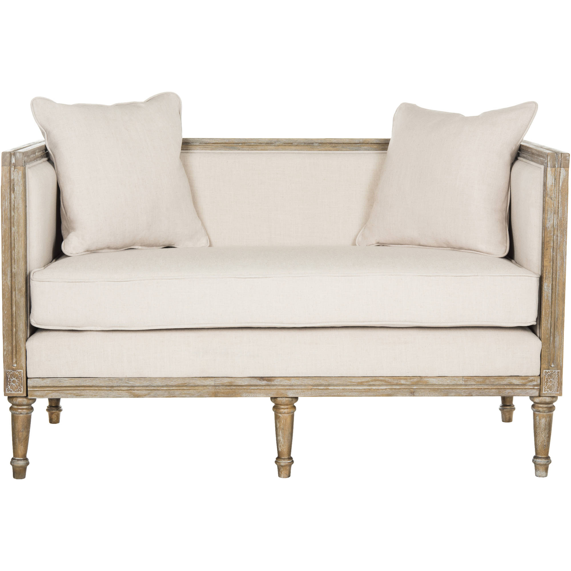 Safavieh Leandra Rustic French Country Settee with 2 Pillows, Multiple Colors