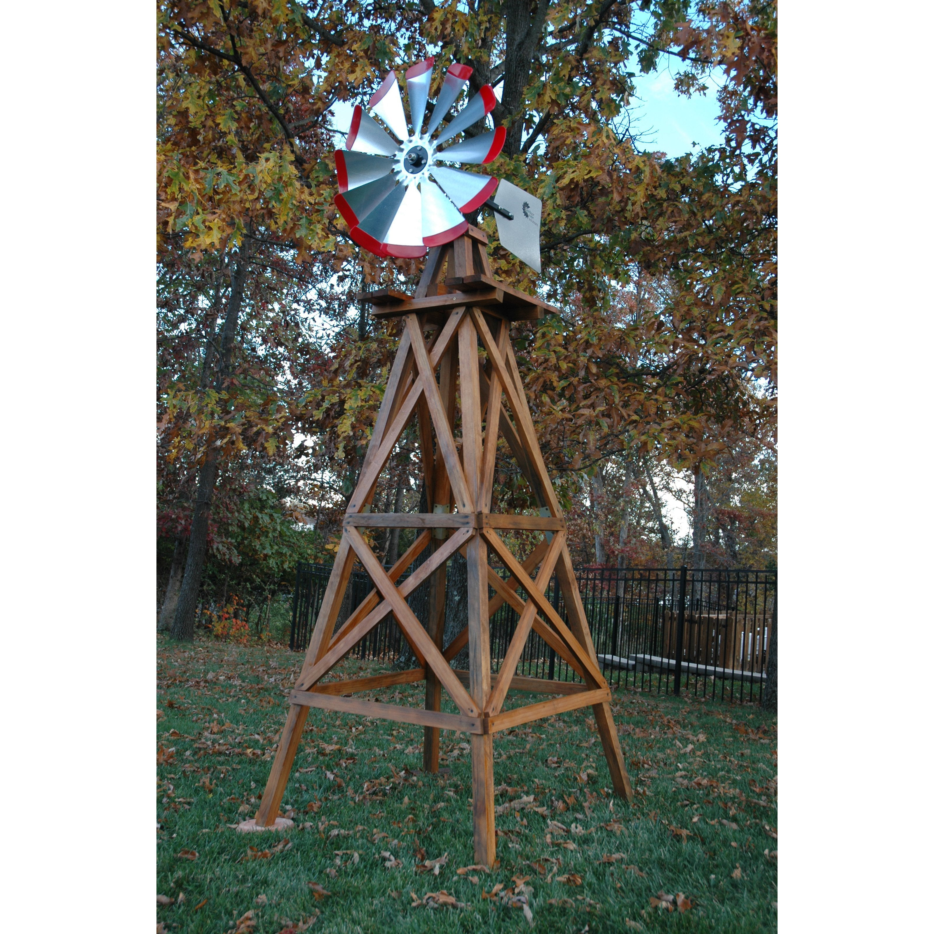 Decorative Red Wood Backyard Windmill 10 ft. by Outdoor Water Solutions