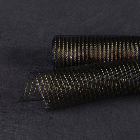 Black with Gold - Deco Mesh Wrap Metallic Stripes -  ( 10 Inch x 10 Yards ) - Diy Halloween Deco Mesh Wreaths