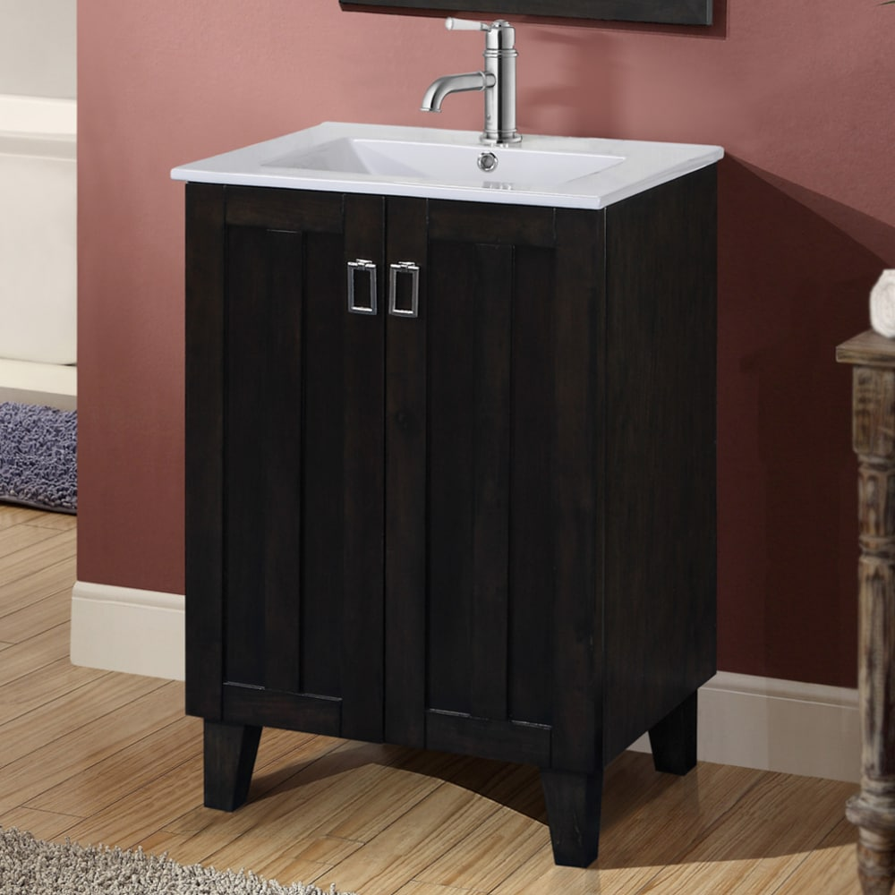 Infurniture 24-inch Single Sink Bathroom Vanity in Dark B...