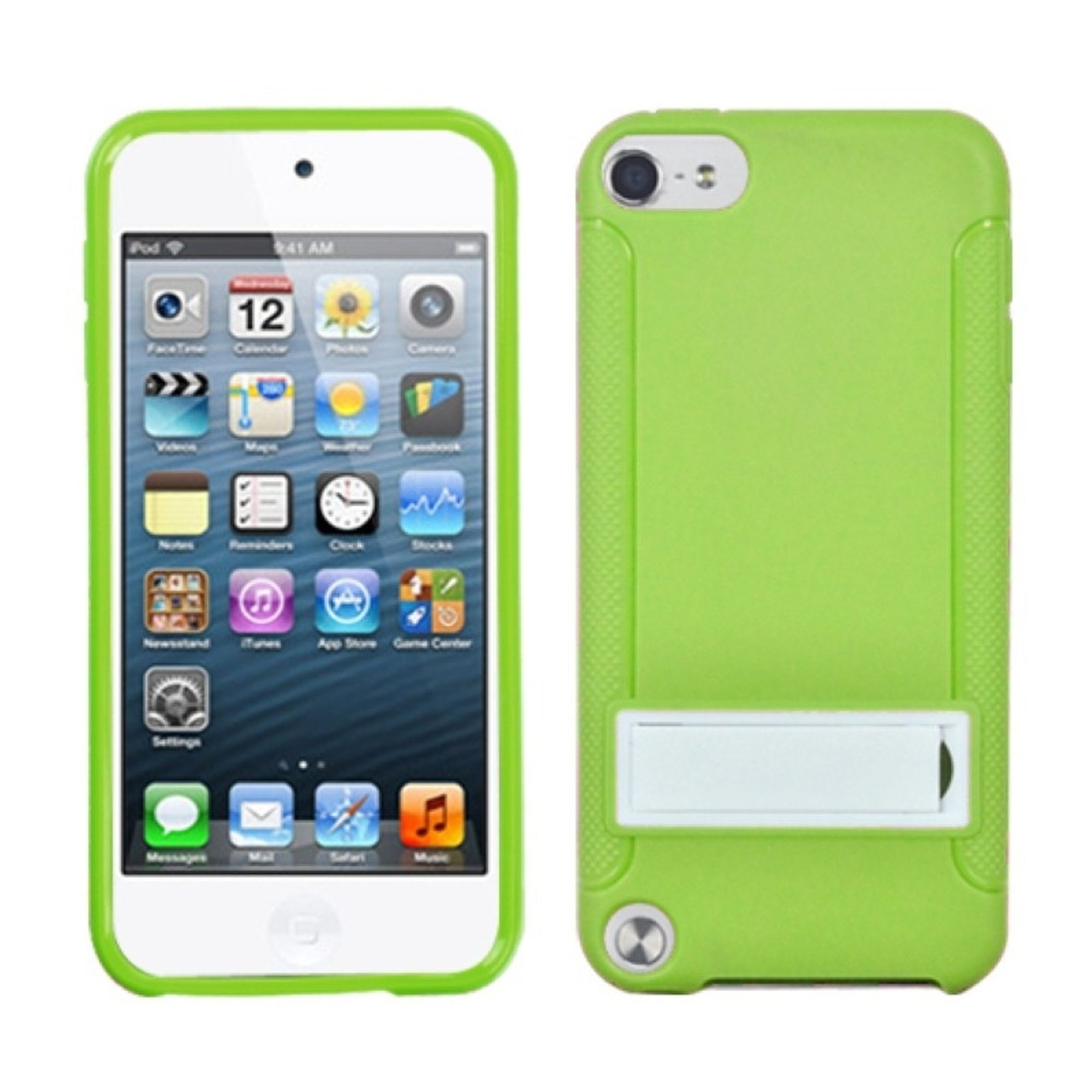 Insten Solid White/Solid Green (With Stand) Gummy Cover Case for iPod touch (5 5G 5th 6 6G 6th Gen)