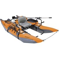 Classic Accessories Colorado XT Inflatable Pontoon Boat With Transport Wheel & Motor Mount - Pumpkin