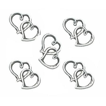 18 Charm Pendants, Loose Beads, 2 Open Heart Antique Silver 32x25mm