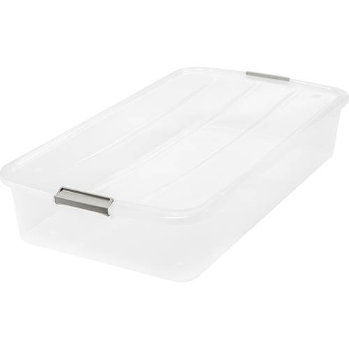 Iris 50 Qt Underbed Buckle Up Storage Box Clear Set Of 6