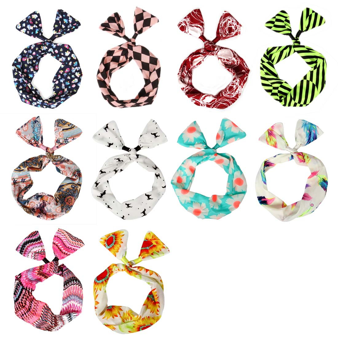 BMC 10pc Mixed Design Wired Hair Tie Twist Bow Headband Scarf Wrap Accessory Lot