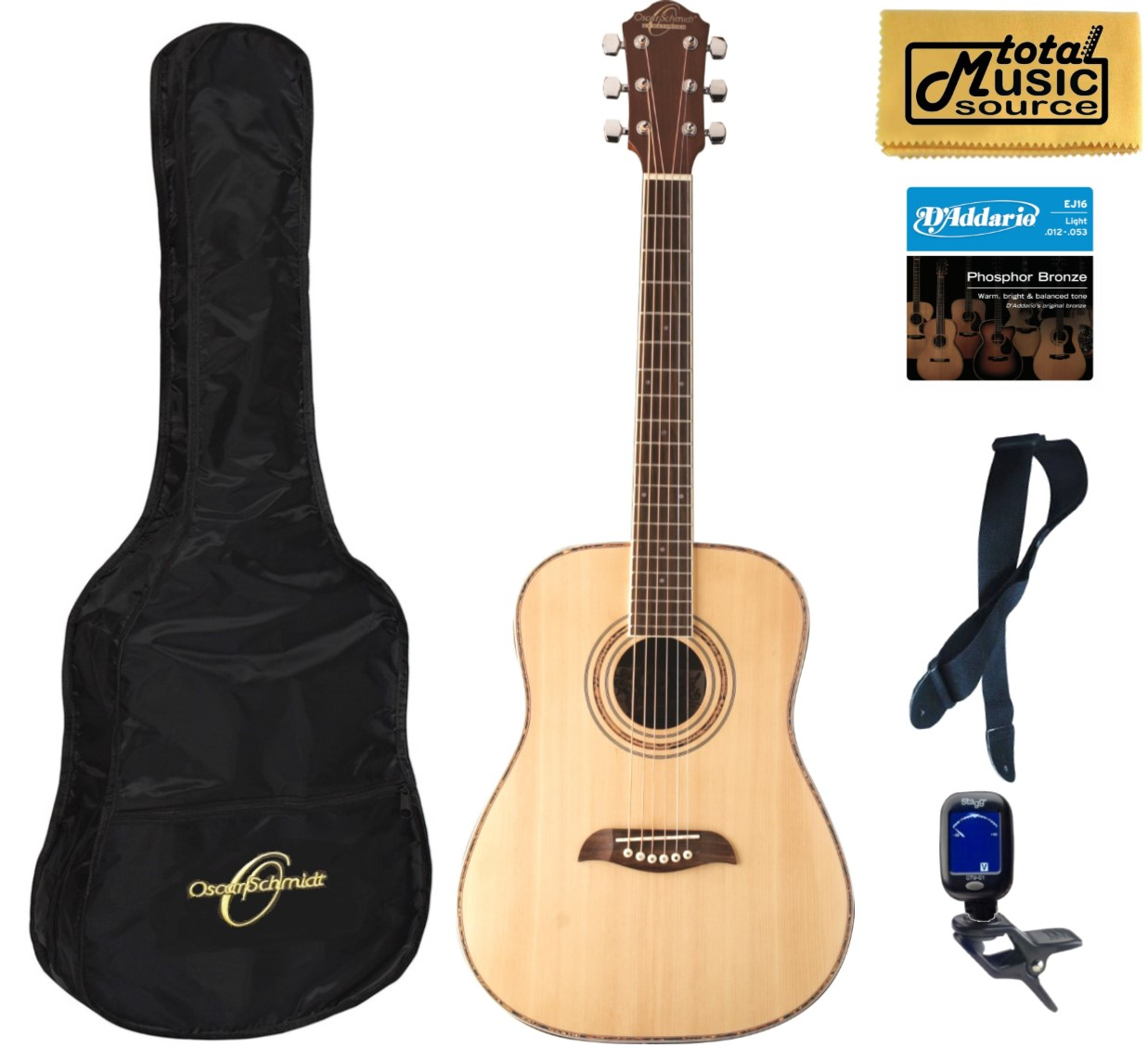 Oscar Schmidt Dreadnought 3/4 Size Acoustic Guitar, Spruce Top, Bundle W/ Bag OG1, OG1 BAGPACK