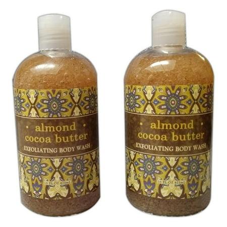 Cocoa Butter Body Wash (Set of 2 Greenwich Bay ALMOND Cocoa Butter Exfoliating Body Wash, 16 fl oz. )