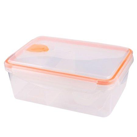 Unique Bargains Unique Bargains Travel Picnic Orange Clear Plastic Hole Design Meal Lunch Pail Box