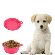 New Collapsible Dog Cat Pet Silicone Travel Feeding Bowl Water Dish Feeder pink