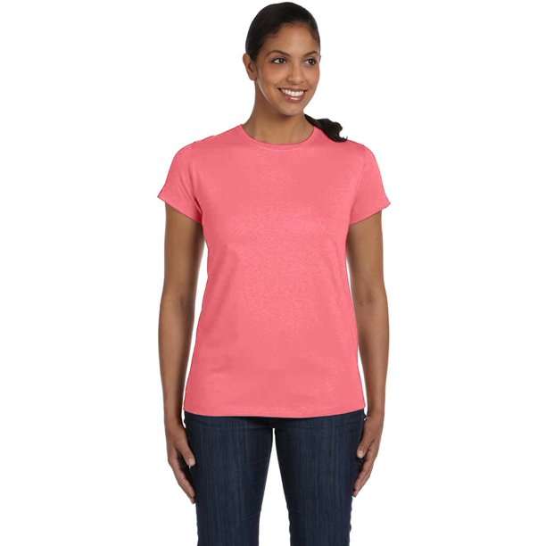 Hanes 5680 Ladies ComfortSoft Cotton T-Shirt - Charisma Coral - 3X-Large