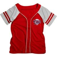 MLB Washington Nationals Girls Short Sleeve Button Down Mesh Jersey