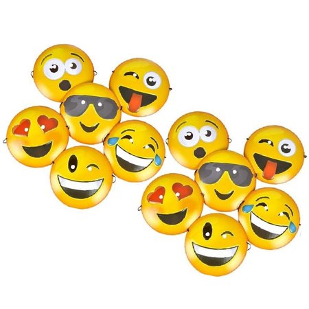 Pig Face Mask Emoji (Set of 12 Expressive Smiley Face Emoji Emoticon Plastic Masks (Size 8.75