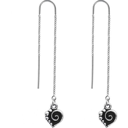 - Body Candy Handcrafted Spiral Heart Threader Earrings