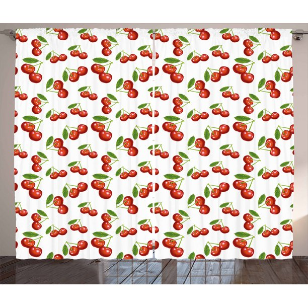 Kitchen Curtains 2 Panels Set Cherry Pattern Design Fresh Berry Fruit Summer Garden Macro Digital Print