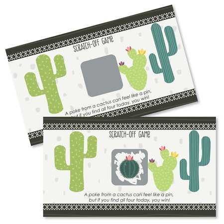 Prickly Cactus Party - Fiesta Party Game Scratch Off Cards - 22 Count