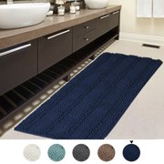 47x17 inch Oversize Non-slip Bathroom Rug Shag Shower Mat Soft Thick Floor Mat Machine-washable Bath Mats with Water Absorbent Soft Microfibers Long Striped Rugs for Powder Room, Navy