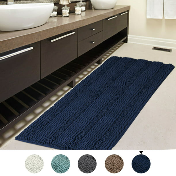 47x17 Inch Oversize Non Slip Bathroom Rug Shag Shower Mat Soft Thick Floor Mat Machine Washable Bath Mats With Water Absorbent Soft Microfibers Long Striped Rugs For Powder Room Navy Walmart Com Walmart Com