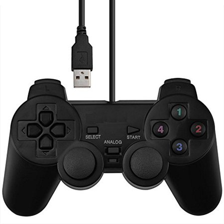 SQDeal USB Dual Shock Joystick Gamepad Gaming Controller [Double Vibration Feedback Motors] for PC Computer Laptop Window (Black) Allen Bradley Smart Motor Controller