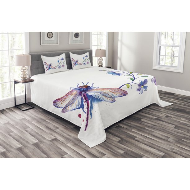 Dragonfly Bedspread Set Watercolor Bug Butterfly Like Moth With Branch Ivy Flowers Lilies Art Decorative Quilted Coverlet Set With Pillow Shams Included Green Purple And Blue By Ambesonne Walmart Com Walmart Com