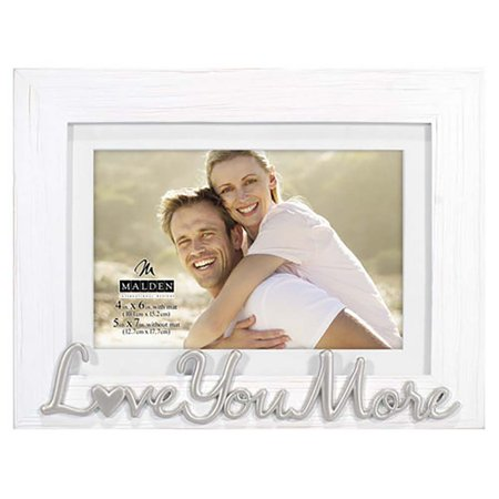 Malden Love You More Expressions Distressed White 4x6 Frame
