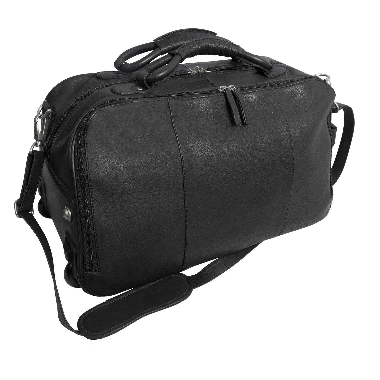Canyon Outback Leather Wildcat Canyon 20-Inch Rolling Leather Duffel Bag - Black