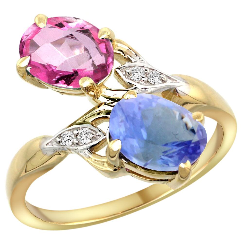 14k Yellow Gold Diamond Natural Pink Topaz & Tanzanite 2-stone Ring Oval 8x6mm, size 5 by Gabriella Gold