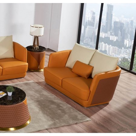 Italian Leather Sand Orange Brown Loveseat GLAMOUR EUROPEAN FURNITURE Modern