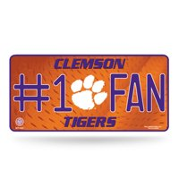 Clemson Tigers Official NCAA 12 inch x 6 inch  Metal #1 Fan License Plate by Rico Industries