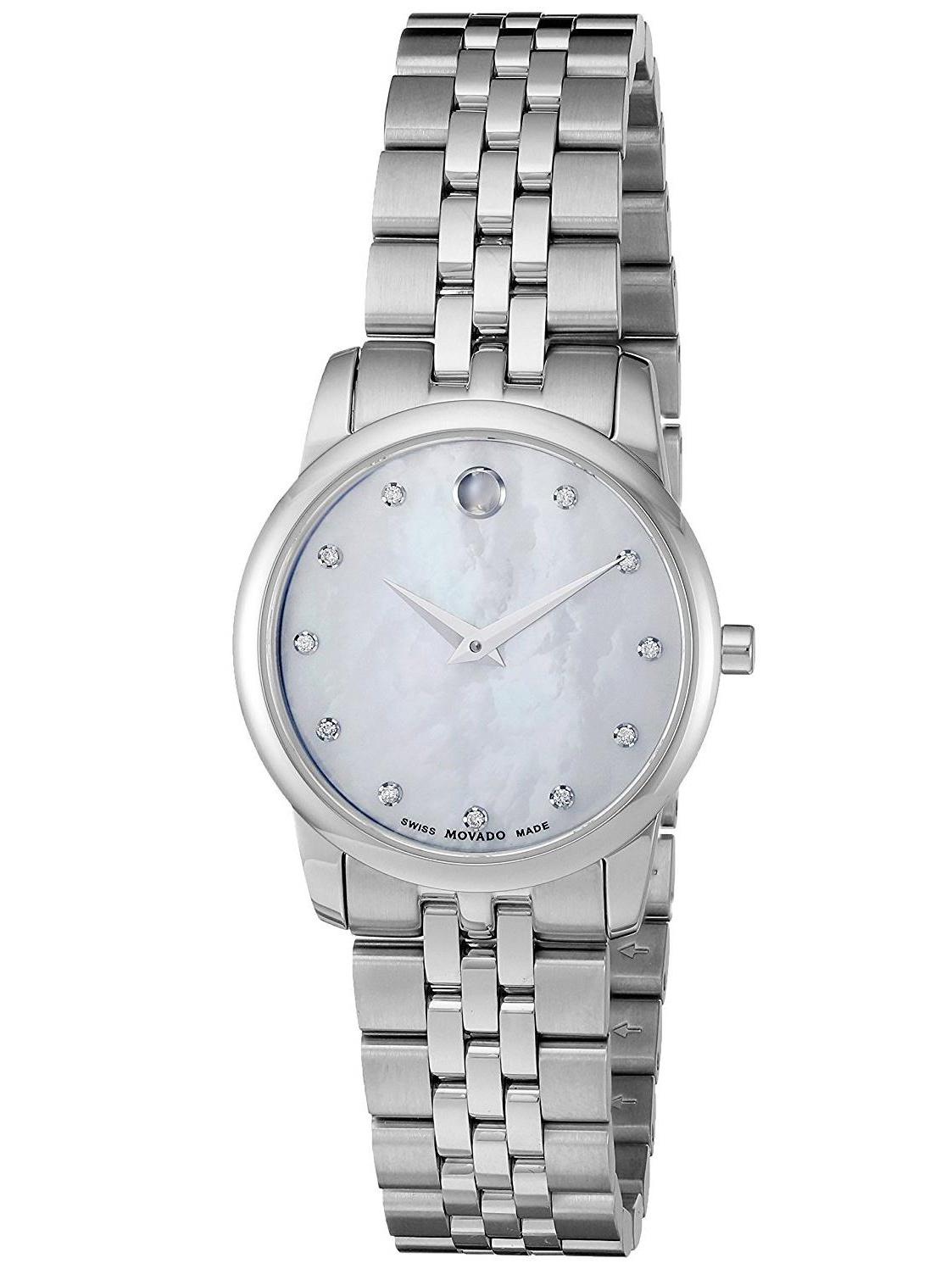 Movado Women's 28mm Silver-Tone Metal Bracelet Steel Case Anti Reflective Sapphire Quartz Watch 0606612