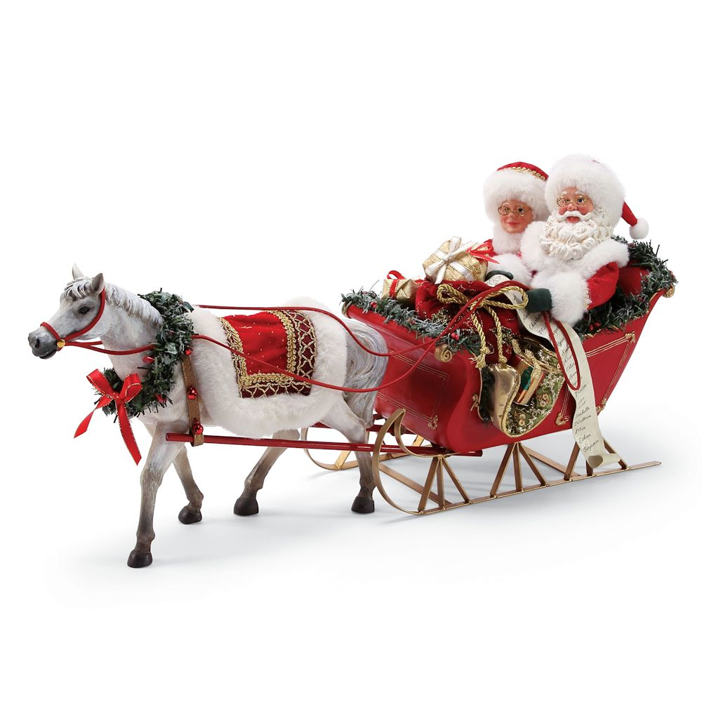 Possible Dreams Christmas Traditions 6000717 One Horse Open Sleigh Clothtique Santa and Mrs Claus