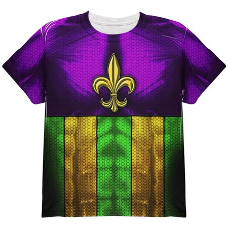Mardi Gras Drinking Champion Superhero Costume All Over Youth T Shirt - Drink Costumes