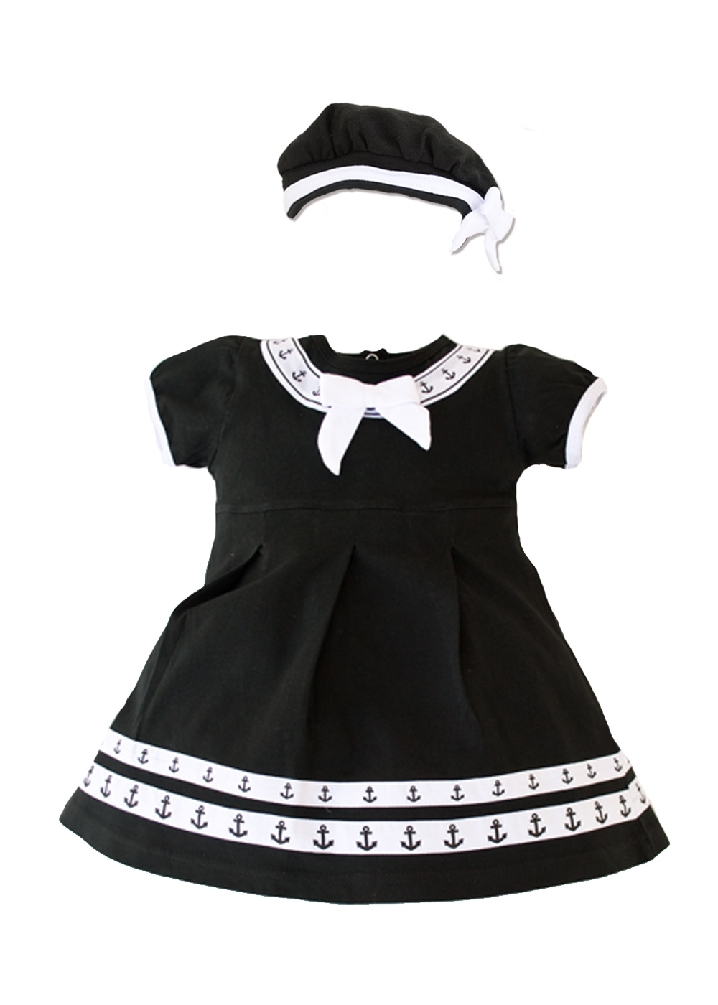 Infant Baby Little Navy Sailor Girl 2 pc Black Dress with Beret 9-12M