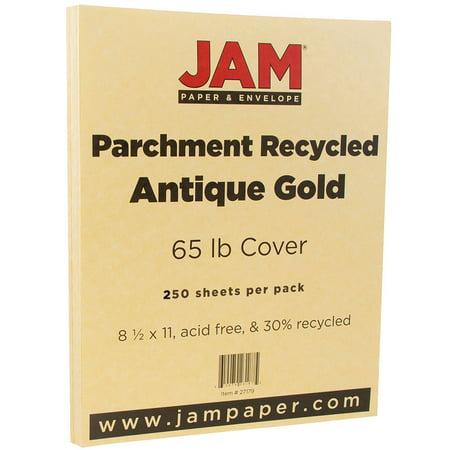 JAM Paper Parchment Cardstock, 8.5 x 11, 65 lb Antique Gold, 250 Sheets/Pack (Gold Card Stock)