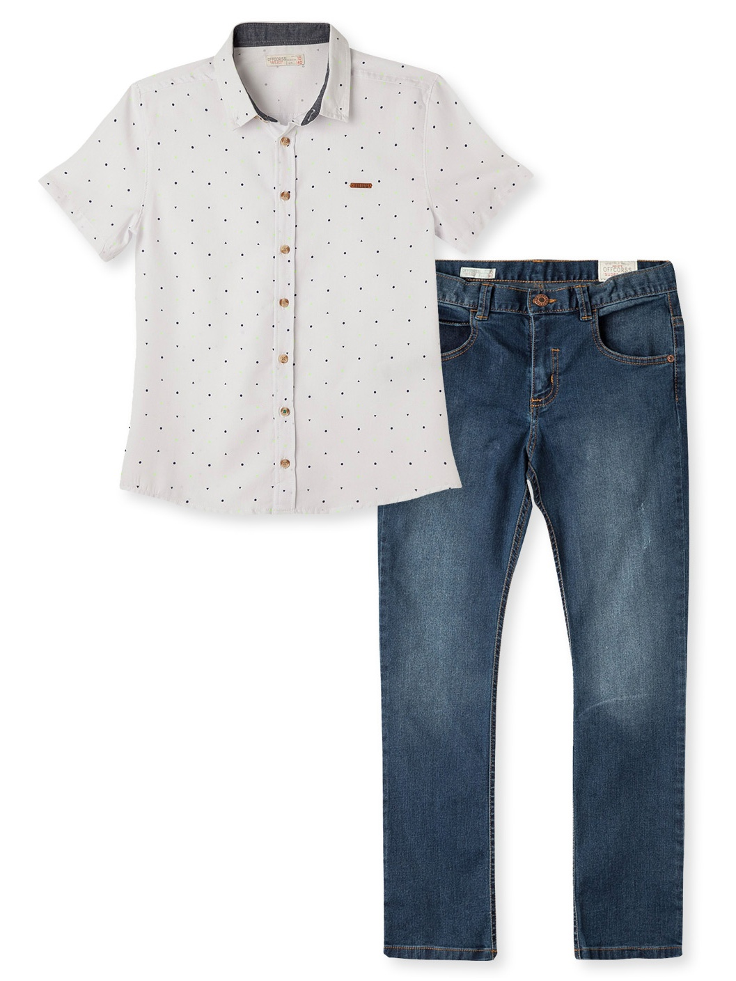OFFCORSS Short Sleeve Shirts Jeans For  Boys