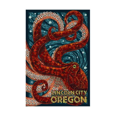 Lincoln City, Oregon - Mosaic Octopus Print Wall Art By Lantern Press - Party City Oregon