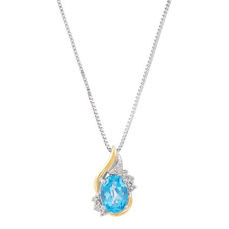 Sterling Silver with 10kt Yellow Gold Oval Simulated Blue Topaz and Diamond Accent Pendant Necklace