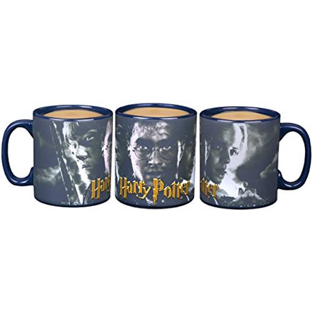 Pottery Mug - Harry Potter Heat Reveal Ceramic Coffee Mug - Harry, Ron, Hermione Image Activates with Heat - 20 oz