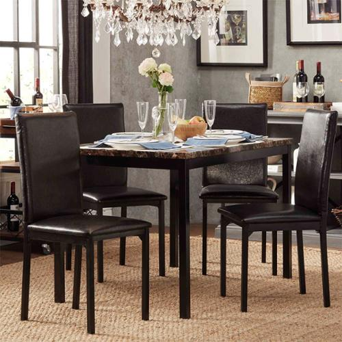 INSPIRE Q Darcy Faux Marble Top Black Metal 5-piece Casual Dining Set by  Bold