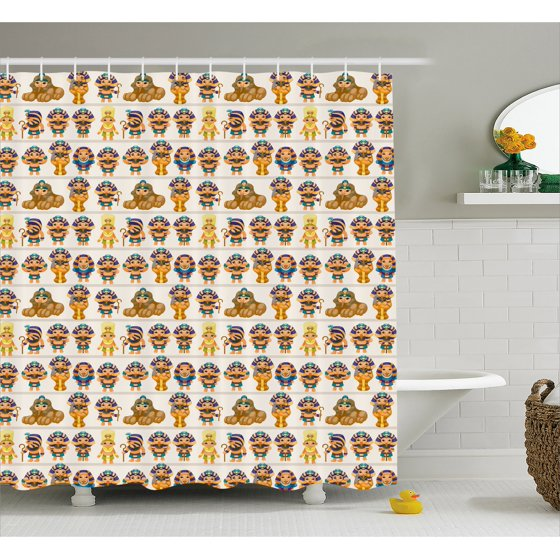 Egyptian shower curtain cute kids design with egyptian for Egyptian bathroom designs