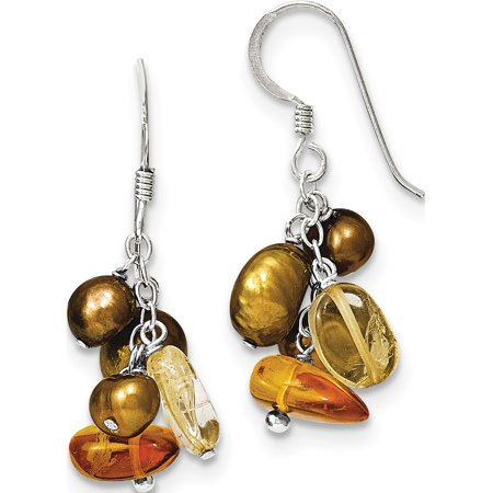 925 Sterling Silver Amber/Citrine & Copper FW Cultured Pearl (21x36mm) Earrings - image 2 de 2