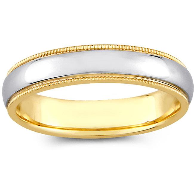 Precious Stars SEBF0001040085 14k Two-tone Gold Ladies 4 mm.  Milligrain Comfort Fit Wedding Band